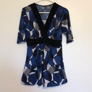 Maurice's Blue Black and White Babydoll Blouse!